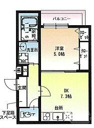JR東海道・山陽本線 岸辺駅 徒歩10分の賃貸アパート 1階1DKの間取り