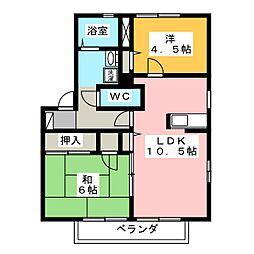 シャルマンファミーユB[2階]の間取り