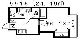 Fstyle田井城1号館(エフスタイル田井城1号館) 1階1Kの間取り