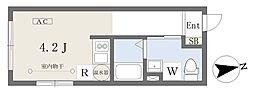 小田急小田原線 経堂駅 徒歩4分の賃貸マンション 2階ワンルームの間取り