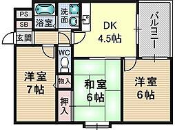 メゾン摂津[5階]の間取り