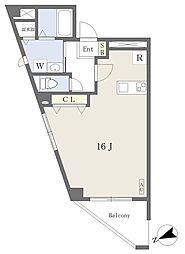 イルソーレ南駅前 4階ワンルームの間取り