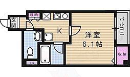 アランフェス京橋 4階1Kの間取り