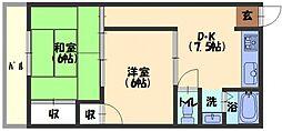 ヒロミツイースト 2階2DKの間取り