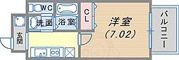 阪急神戸本線 春日野道駅 徒歩4分の賃貸マンション 2階1Kの間取り