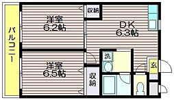 第六島田マンション[105号室]の間取り