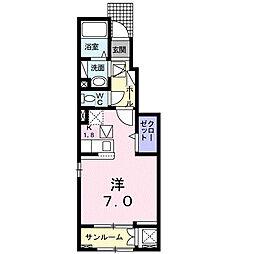 西町アパートC 1階1Kの間取り