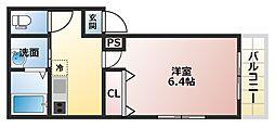 フジパレス駒川中野III番館 1階1Kの間取り
