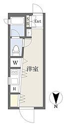 FARE桜新町IV 4階ワンルームの間取り