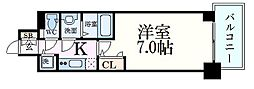 JR東海道・山陽本線 三ノ宮駅 徒歩9分の賃貸マンション 2階1Kの間取り