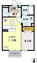 桐原駅5分・セジュール桐原 1階1DKの間取り