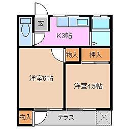 三重県四日市市山手町の賃貸アパートの間取り