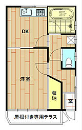 神奈川県川崎市中原区丸子通1丁目の賃貸アパートの間取り
