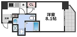 エグゼ堺筋本町 9階1Kの間取り