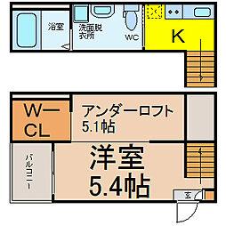 名鉄常滑線 柴田駅 徒歩5分の賃貸アパート 1階1SKの間取り