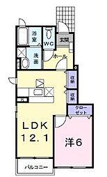 JR山陽本線 備後赤坂駅 徒歩32分の賃貸アパート 1階1LDKの間取り