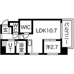 プリンシピオ赤坂 8階1LDKの間取り