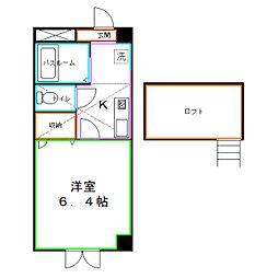JR中央本線 国立駅 徒歩8分の賃貸マンション 3階1Kの間取り