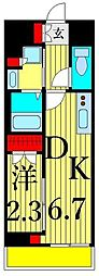 リアンシエルブルー田端 9階1DKの間取り