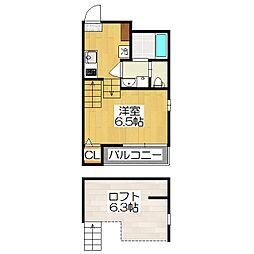 京都府京都市伏見区榎町の賃貸アパートの間取り