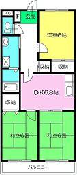 東京都東久留米市前沢4丁目の賃貸マンションの間取り