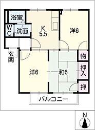 ハピネス幡山[2階]の間取り