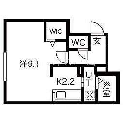 ファランドール大通東I 4階1Kの間取り