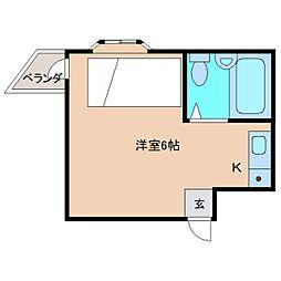 近鉄奈良線 富雄駅 徒歩16分の賃貸マンション 2階ワンルームの間取り