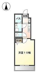 JR津山線 備前原駅 徒歩15分の賃貸アパート 1階1Kの間取り