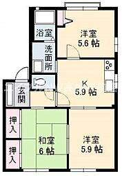 香川県高松市由良町の賃貸アパートの間取り
