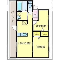コーリングマンションI[1-2号室]の間取り