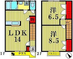 [テラスハウス] 埼玉県越谷市蒲生3丁目 の賃貸【/】の間取り