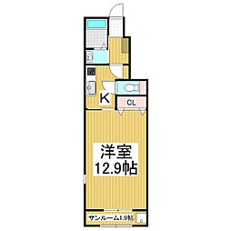 JR大糸線 北松本駅 バス15分 法務局前下車 徒歩29分の賃貸アパート 1階1Kの間取り