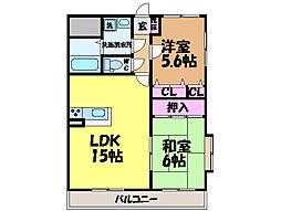愛媛県東温市田窪の賃貸マンションの間取り