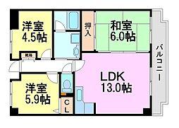 兵庫県尼崎市元浜町2丁目の賃貸マンションの間取り