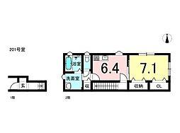 JR大糸線 北松本駅 3.3kmの賃貸アパート 2階1DKの間取り