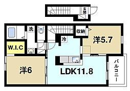 近鉄大阪線 大福駅 徒歩14分の賃貸アパート 2階2LDKの間取り