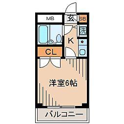 神奈川県横浜市神奈川区六角橋1丁目の賃貸マンションの間取り