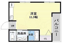 第2サカエマンション 3階ワンルームの間取り