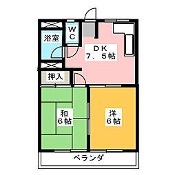 コーポいび[2階]の間取り