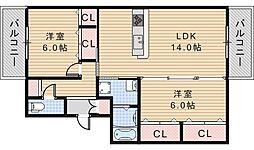 阪南ファイブ[302号室]の間取り