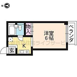 コモディタ竹屋町[B-1号室]の間取り