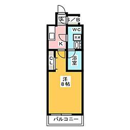 RELUXIA墨田八広 6階1Kの間取り