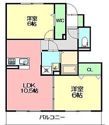 セレスティンワールA棟 1階2LDKの間取り