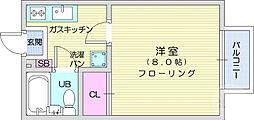 JR東北本線 館腰駅 徒歩5分の賃貸アパート 1階1Kの間取り