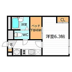 Osaka Metro中央線 深江橋駅 徒歩16分の賃貸アパート 2階1Kの間取り