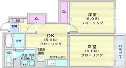ピュアメゾン1 1階2DKの間取り