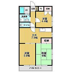 コーポ富瀬[2階]の間取り