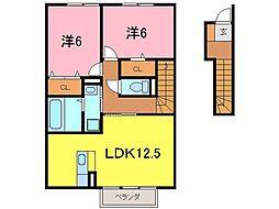 セジュール桜井B[2021号室]の間取り