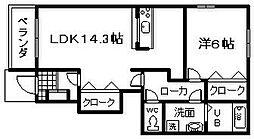 南海線 みさき公園駅 徒歩9分の賃貸アパート 1階1LDKの間取り